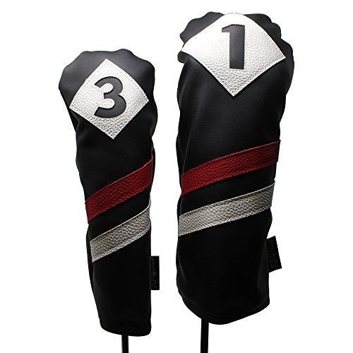 噴火幻想子猫Majek Retro Golf Headcovers Black Red and White Vintage Leather Style 1 & 3 Driver and Fairway Head Cover Fits 460cc Drivers Classic Look