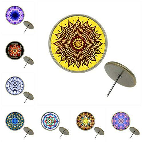 5pairs/lot 8/10/12/14mm 4 Colors Stud Earring Mandala Pattern Glass Cabochon Earrings Stud For Girl EA Z G1722,EA-Z-G1722-02,12mm Gold