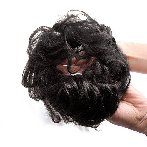 Bella Hair 100% Human Hair Scrunchies For Women Bun Up Do Hairpieces Wavy Curly or Messy Ponytail Extension (#1B Natural Black)