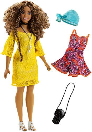 (Barbie Fashionistas poupée mannequin #85 brune avec robe en dentelle jaune, fournie avec deuxième tenue, jouet pour enfant, FJF70 )