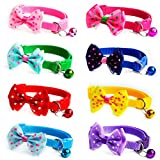 8 Pack Pet Adjustable Bowties Collars with Bells - Safety Identification Collars for Puppy Dogs - Kittens and Puppy Pets