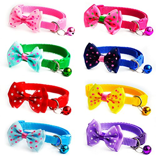 Detachable Girth Ring (Alaroute 8 pcs Adjustable Nylon Bow-tie Collars with Bell, Safety Identification Collars for Puppy Dogs, Kitten Cats and Other Small Pets (8 Colors))