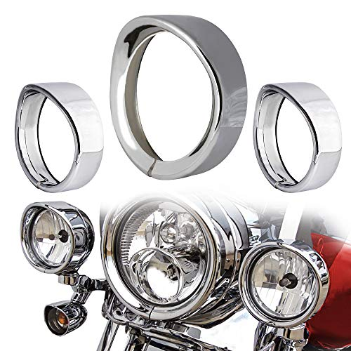 "NTHREEAUTO Chrome Motorcycle Lights Frenched Ring Kit Compatible with Harley, 7"" Headlight Trim Ring Decorate Visor + 4 1/2"" Fog Light Trim Ring Decorate Visor(Chrome)"