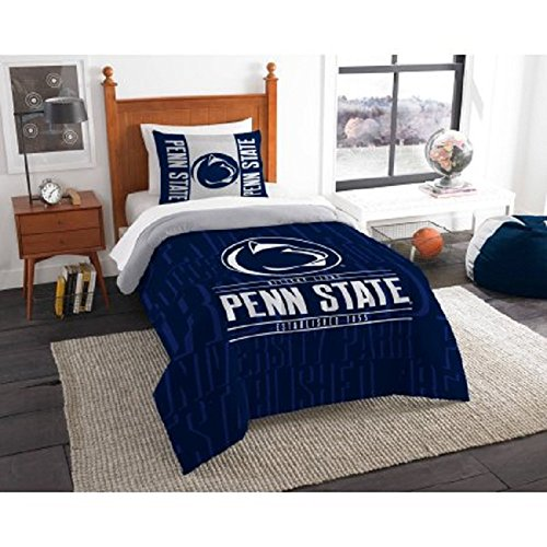 2 Piece NCAA Penn State University Nittany Lions Comforter Twin Set, Sports Patterned Bedding, Featuring Team Logo, Fan Merchandise, Team Spirit, College Volley Ball Themed, Blue Multi, For Unisex