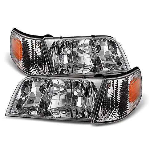 ACANII - For 1998-2011 Ford Crown Victoria Headlights Headlamps+Corner Parking Signal Lights Driver + Passenger
