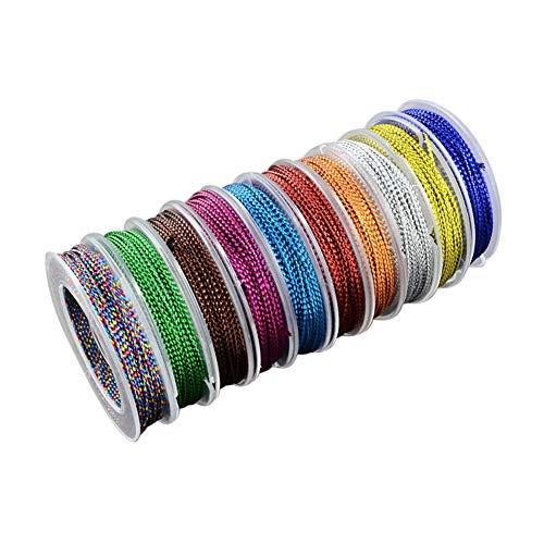 PandaHall 10 Rolls 10.9 Yard 1mm Non Stretch Metallic Cord Rope Tinsel String Jewelry Braided Thread Gift Wrap Ribbon Metallic Tinsel Cord Rope 10 Colors