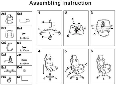 Wefun Fauteuil de Gamer Chaise de Bureau Chaise d'ordinateur Chaise pivotante Siège, Ergonomique réglable en Hauteur (Noir-Rouge)