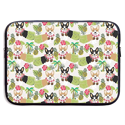 Welsh Corgi Tropical Hawaii Hula Dogs Funny Seaweed Laptop Sleeve Case Bag Cover for Apple MacBook/Asus/Acer/Samsung/DELL/HP/Lenovo/Sony/RCA Computer 15 -