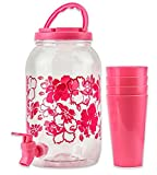 juice dispenser plastic - DecorRack Plastic Beverage Dispenser with Spigot and 4 Cups, Spout Jar for Juice, Water, Cold Drinks, Portable 1 Gallon Container with Flip Cap for Parties, Picnic -BPA Free- Pink (1 Jar, 4 Cups)