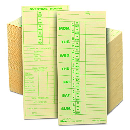 Tops Job Cards (TOPS 1291 Time Card for Pyramid Model 331-10, Weekly, Two-Sided, 3 1/2 x 8 1/2 (Box of 500))