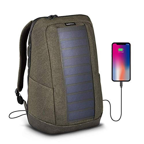 - Sunnybag ICONIC solar backpack in olive brown | 7 Watt solar panel | Charge all Smartphones and portable USB devices | 20L volume and 17