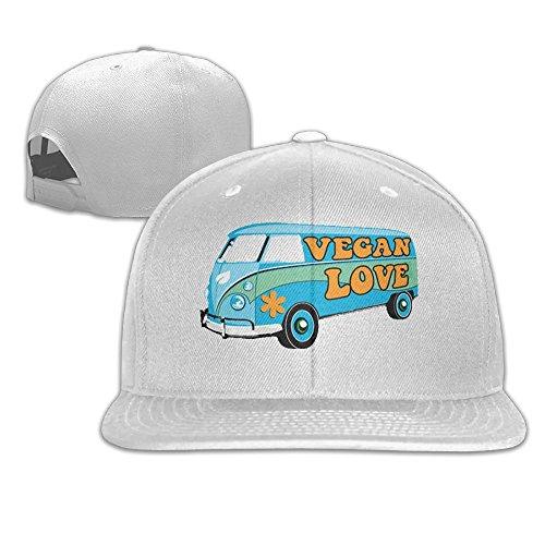 Angeles Dodgers Los Pencil (Yishuo Men's The Vegan Love Bus - Women's Funny Jogging White Cap Hat Adjustable Snapback)