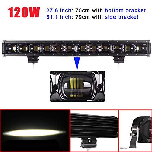 (AUXMOTEC 120W Led Light Bar 27.6 inch 31.1inch 12000Lm Len Spot Led Off-road Work Driving Lightbar 12V 24V with Bottom Bracket and Side Bracket for 4X4 4WD Jeep Truck Boat Vehicle SUV Car)