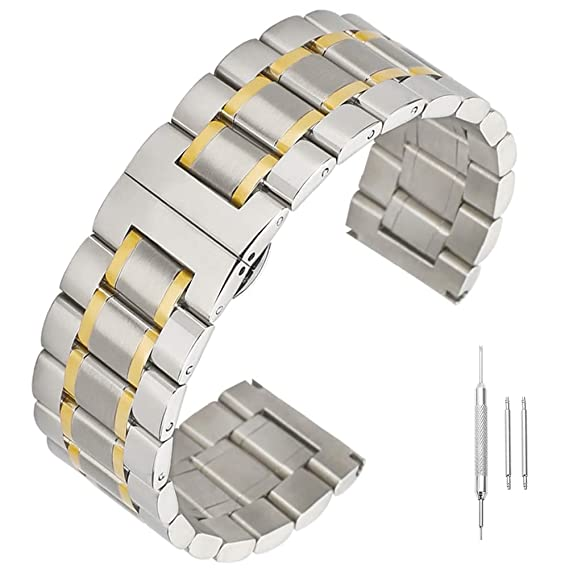 Banda de Acero Inoxidable Correas de Recambio sólido Banda de Reloj de 14 mm 16 mm 17 mm 18 mm 19 mm 21 mm 22 mm 23 mm 24 mm
