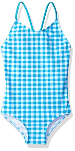 Kanu Surf Little Girls' Lilly Check 1-Pc Swimsuit, Aqua, 5