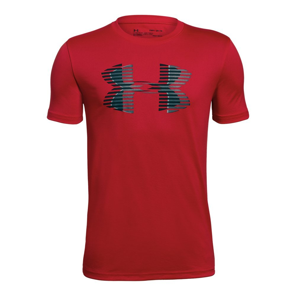 Under Armour Boys' Tech Big Logo Solid T-Shirt, Red (600)/Black, Youth Large
