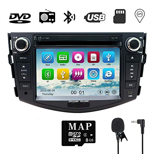 (NVGOTEV,Car Stereo GPS Navigator for Toyota RAV4 2006-2012, Double Din Head Unit 7 Inch 2 Din Car Stereo with DVD CD Player Support GPS, USB SD, FM AM RDS, Bluetooth, SWC(Wince 6.0 System))