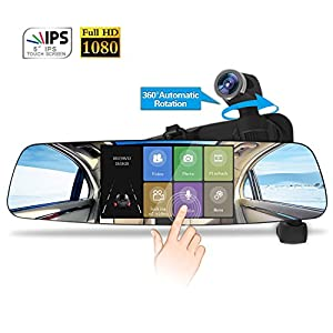Spedal Mirror Dash Cam, 1080P HD 5.0 Touch Screen Dashboard Camera Recorder, 360°Automatic Rotation Car Camera, Rear View Recorder Dash Cam with Parking Monitor, Loop Recording, G-Sensor, Night Vision