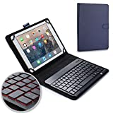 Asus Transformer Pad TF103C TF300T TF303K keyboard case, COOPER BACKLIGHT EXECUTIVE 2-in-1 Backlit LED Bluetooth Wireless Keyboard Leather Travel Cover Folio Portfolio Stand with 7 Colors (Blue)