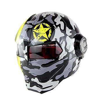 XBTECH Casco Completo De La Motocicleta/Personalidad Estilo Retro Harley Transformers Casco/Iron Man