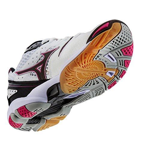Zapatillas De Voleibol Mizuno Wave Tornado 9 Para Mujer - Blanco Y Rosa