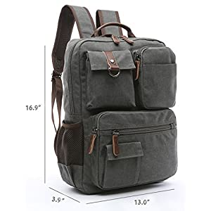 Canvas Backpack, Aidonger Vintage Canvas School Backpack Hiking Travel Rucksack Fits 14'' Laptop (Gray-48)
