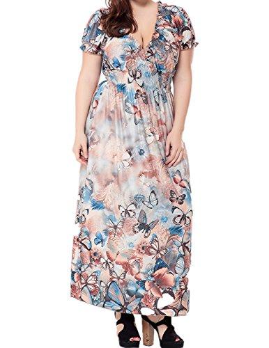 Butterfly Long Dress - MONICAR Women's Plus Size Boho V Neck Short Sleeve Butterfly Print Long Dress Brown 2X