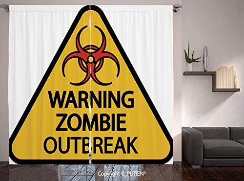 Thermal Insulated Blackout Window Curtain [ Zombie Decor,Warning Zombie Outbreak Sign Cemetery Infection Halloween Graphic Decorative,Earth Yellow Red Black ] for Living Room Bedroom Dorm Room Classro]()