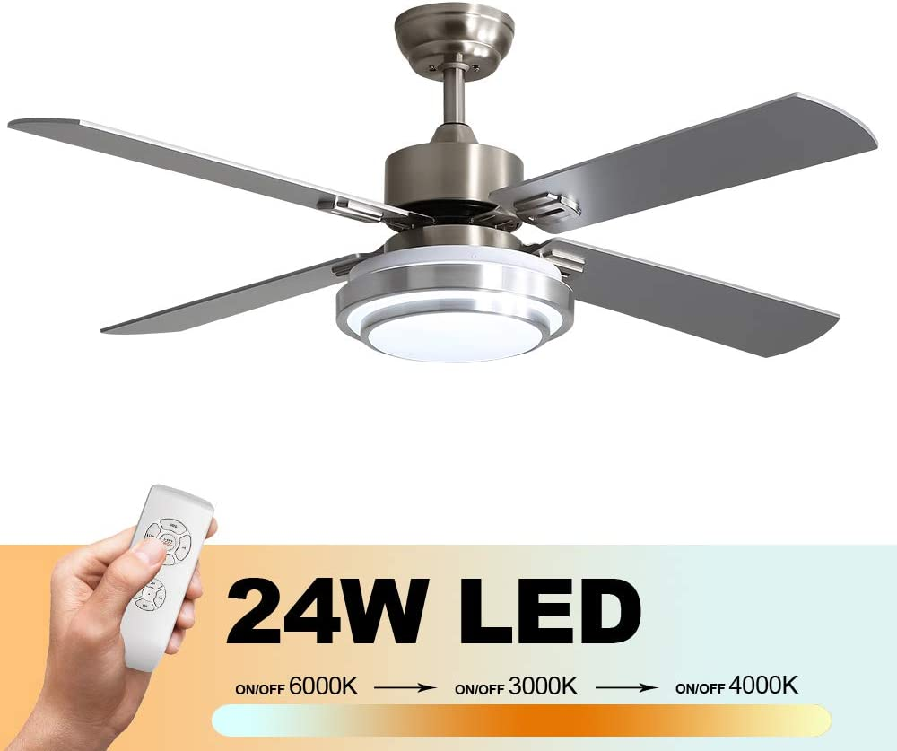 Warmiplanet 52-inch Brushed Nickel reversible ceiling fan with 24W LED lights and remote control