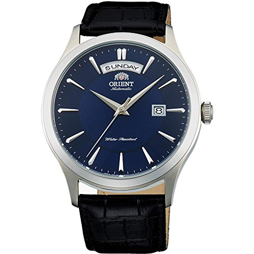 Mens Analog Blue Dial - Orient Men's Classic 40mm Black Leather Band Steel Case Automatic Blue Dial Analog Watch FEV0V003DH