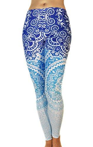 - Comfy Yoga Pants - Dry Fit - Slimming Mid Rise Cut - Printed Yoga Leggings (Mandala Ocean)