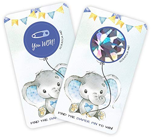 30 Baby Shower Scratch Off Games, Blue Elephant Lottery Ticket Raffle Card Game, Party Activities, Decorations, and Supplies- Its a Boy