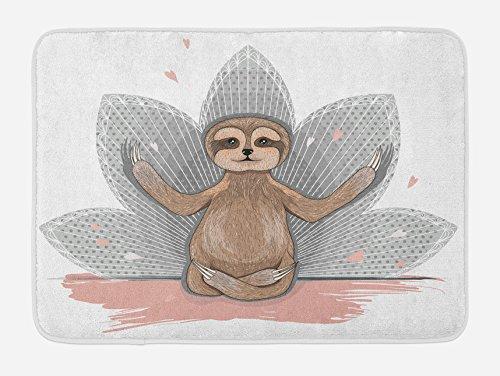 Ambesonne Sloth Bath Mat, Little Sloth Meditation Lotus Flower Yoga Asana Positions Motivational Fun, Plush Bathroom Decor Mat with Non Slip Backing, 29.5 W X 17.5 L Inches, Pink Brown