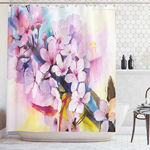 Ambesonne Watercolor Flower Home Decor Shower Curtain by, Eastern Sakura Petals Motif Oriental Floral Paint, Fabric Bathroom Decor Set with Hooks, 70 Inches, Lilac -