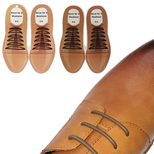 No Tie Dress Shoe laces for Men,2 Pairs(Black+Brown) Elastic Waxed Thin Oxford No Tie Shoelaces .