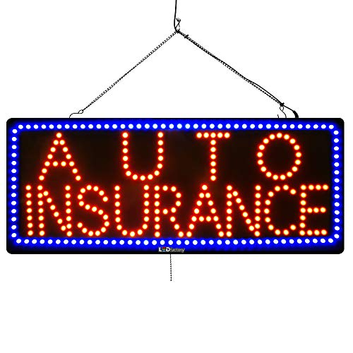 (Large LED Window Finance Sign - AUTO Insurance - Extra Bright LEDs - Can Be Seen Through Tinted Windows - Extra Large - 32 inches Wide)