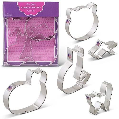 Cat Cookie Cutters - 5 Piece Boxed Set - Cat Face, Cat w/Tail, Curled Cat, Frightened Cat, Goldfish - Ann Clark - US Tin Plated Steel