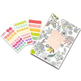 """Set of 1 Undated Coloring Planner and 3 Sheets Decorative Adhesive Stickers, Color Therapy 2016 Academic Planner Organizer Agenda of 5.1"""" X 7.4"""", Translucent Lovely Sticker Set of 4.3""""x2.4"""""""