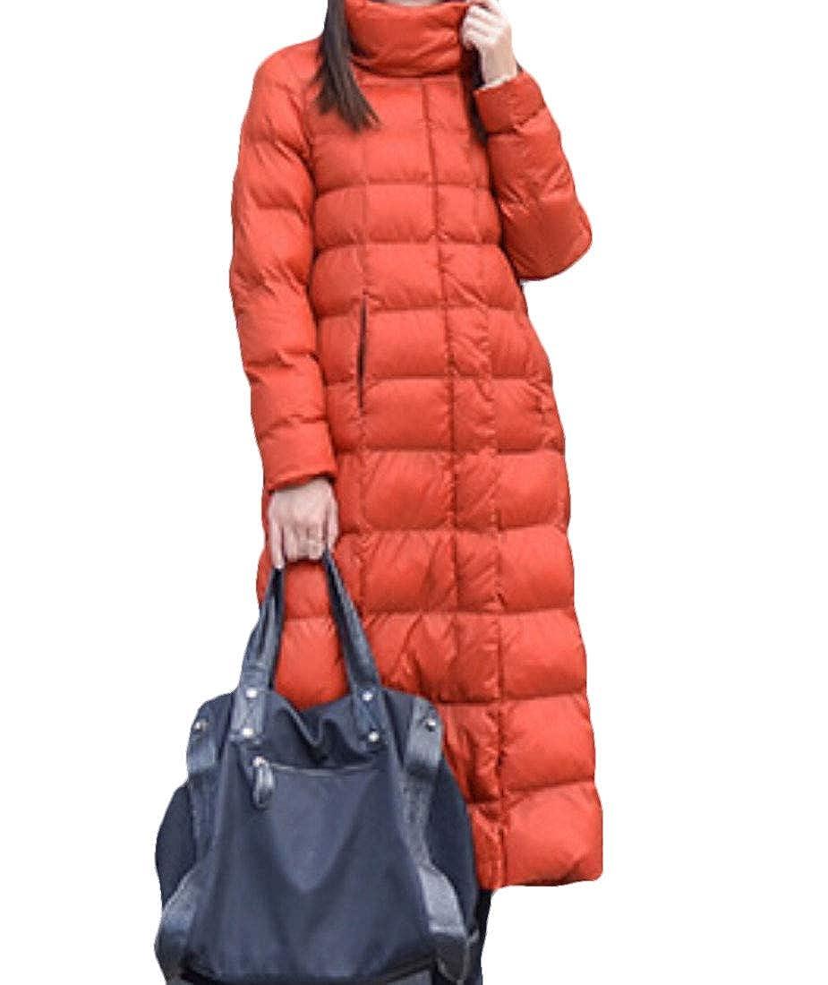 2 omniscient Women's Packable Full Zip Ultralight Stand Collar Puffer Long Down Coat