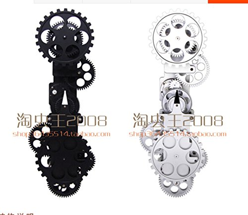 Retro wall gear clock, creative home mechanical wall clocks,20 inch silver by PINWEI (Image #3)