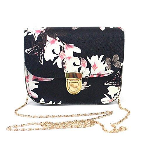 Clearance Women Butterfly Flower Printing Shoulder Bag Tote Crossbody Bag (Black)
