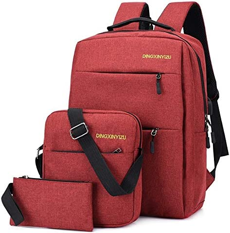 LCHAO Travel Backpack Three-Piece Mens Oxford Waterproof Backpack Multifunctional Computer Leisure Package Color : Claret