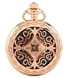 Carrie Hughes Vintage Baroque Steampunk Skeleton Mechanical Pocket Watch with Chain Gifts (Rose Gold CHPW14)