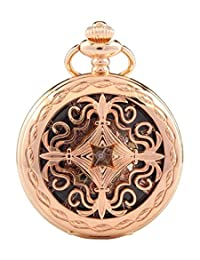 Carrie Hughes Victorian Mechanical Pocket Watch with Chain Steampunk Skeleton Rose gold +Gift Box CHPW14