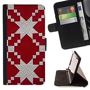 Momo Phone Case / Flip Funda de Cuero Case Cover - Modelo rojo Tela Blanco judía - Samsung Galaxy S6 Edge Plus / S6 Edge+ G928