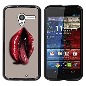 TopCaseStore / la caja del caucho duro de la cubierta de protección de la piel - Red Lips Tongue Sexy Woman Vampire Blood - Motorola Moto X 1 1st GEN I XT1058 XT1053 XT1052 XT1056 XT1060 XT105