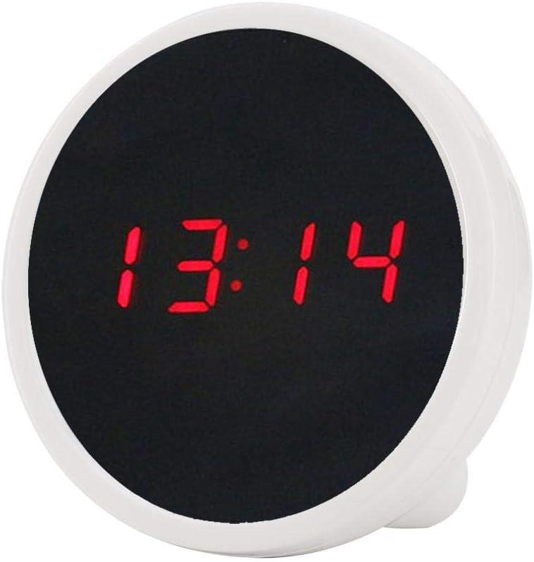 Blanc Faite dABS appropri/é /à Une d/écoration /à la Maison daerfect Asixx Horloge de Miroir Affichage de 24 Heures de r/éveil de Table de Bureau de Surface de Miroir de LED de Digital Superbe