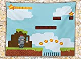 Video Games Fleece Throw Blanket Retro Arcade World Kids 90s Fun Theme Knight with Sword Fireball Bonus Stars Coins Throw
