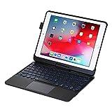 I.N.I iPad Keyboard Case for iPad 2018 (6th Gen) - iPad 2017 (5th Gen) - iPad Pro 9.7 - iPad Air 2&1-360 Rotatable - Wireless/BT - Backlit 7 Colors - iPad Case with Keyboard for iPad OS (9.7, Black)