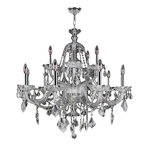 Worldwide Lighting Provence Collection 15 Light Chrome Finish and Clear Crystal Chandelier 35